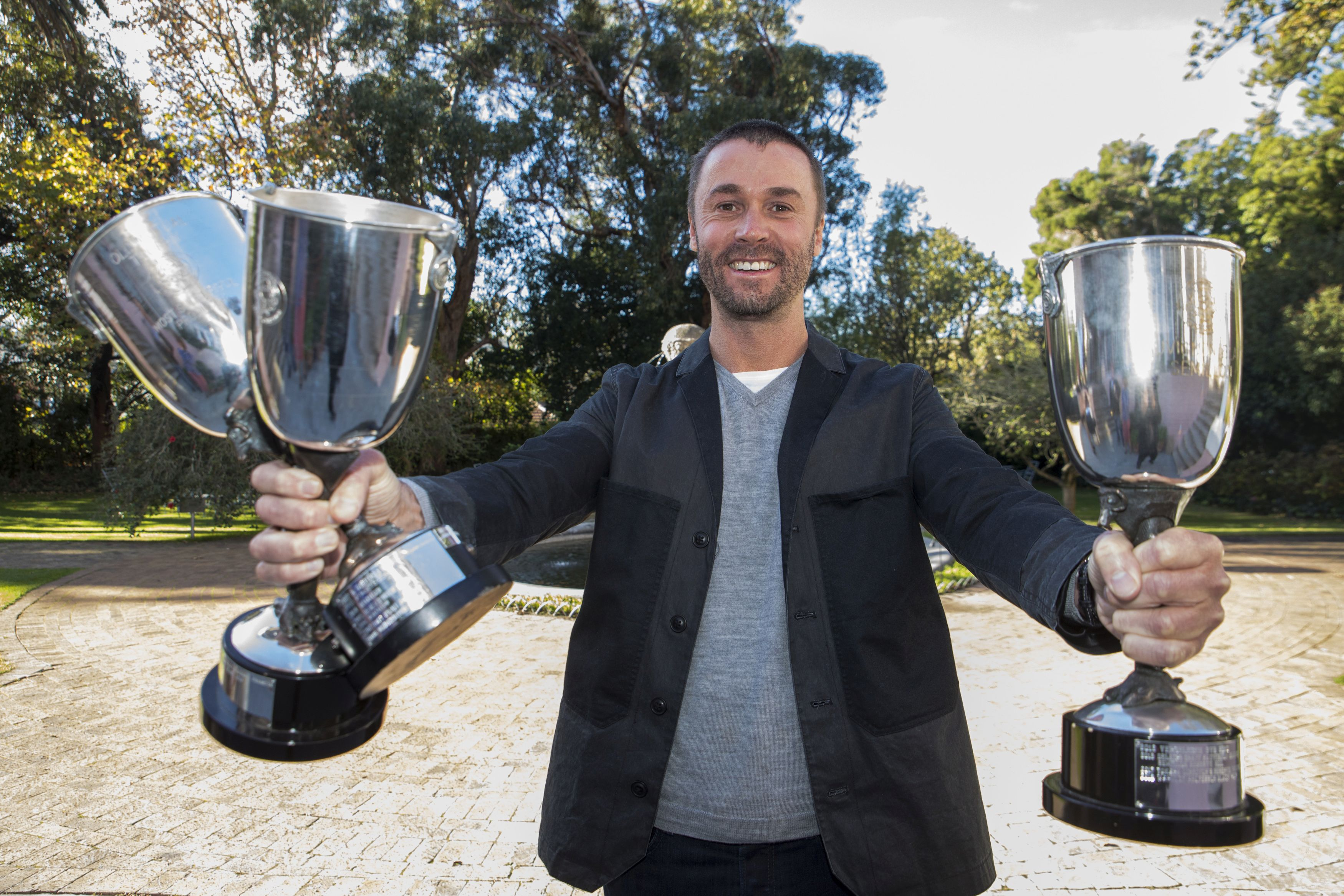 "<img alt=""Nic van Aarde of Warwick Wine Estate holds trophys Old Mutual Trophy Wine Show 2018"">"